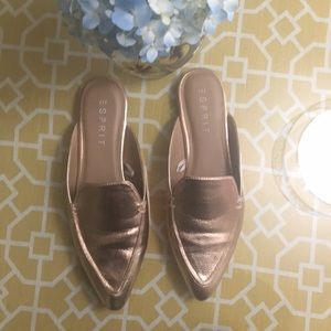 Rose Gold Slip On Loafers Mules 9.5 Pointed Toe